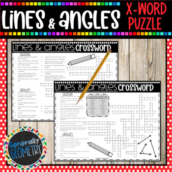 Lines and Angles Crossword Puzzle; Geometry