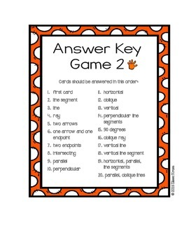Geometry: Lines and Angles: I Have, Who Has Games {Set of 6 Games}