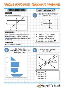 Lines and Angles - Independent Practice - Spanish