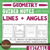 Lines and Angles - Guided Notes, Presentation and INB Activities