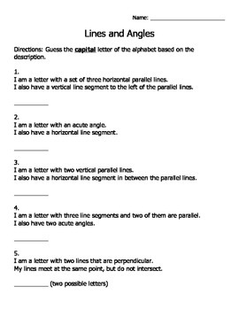 Lines and Angles Letter Riddles