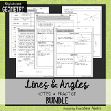 Lines and Angles: Notes & Practice BUNDLE