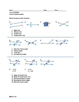 Lines and Angles Picture Vocabulary Quiz