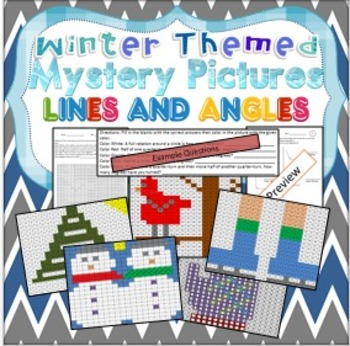 Lines and Angles Review Mystery Pictures Winter Theme