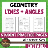 Lines and Angles - Student Practice Pages