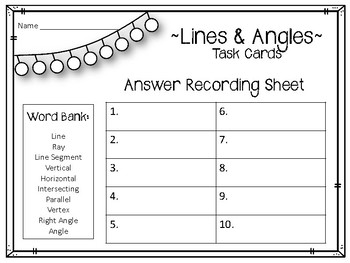 Lines and Angles Task Cards. Math Center