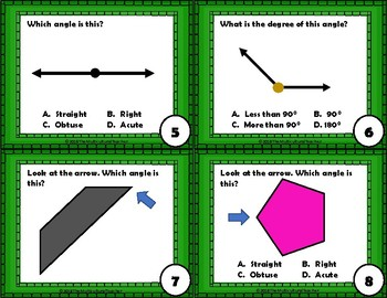 Lines and Angles Task Cards with Recording Sheets and Answer Key
