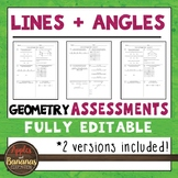 Lines and Angles Tests - Geometry Editable Assessments