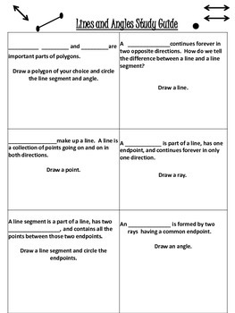 Lines and Angles Unit Activities