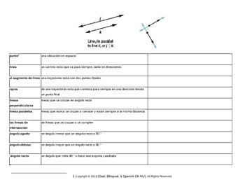 Lines and Angles Vocabulary