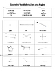 Lines and Angles Vocabulary Geometry Assessment  or Exit Slip
