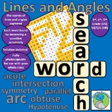 Lines and Angles Vocabulary Wordsearch and Problem Solving Challenge