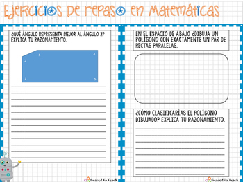 Lines and Angles - Warm up in Spanish