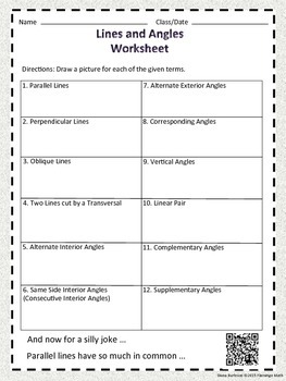 Lines and Angles Worksheet