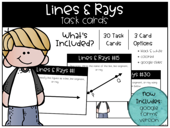 Lines and Rays Task Cards
