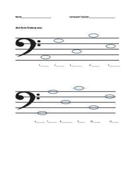 Lines and Spaces Bass Clef