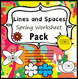 Lines and Spaces Music Worksheets for Spring   Print and Digital
