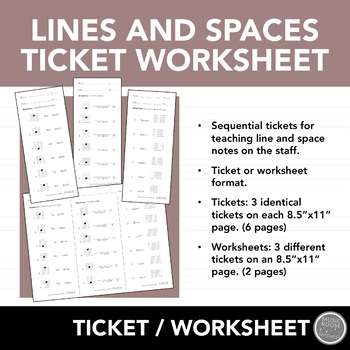 Lines and Spaces Exit Ticket Worksheets