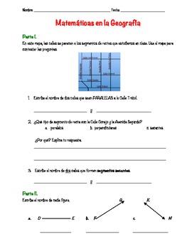 Lines, line segments, and rays in Spanish. Rectas, segementos de recta y rayos.