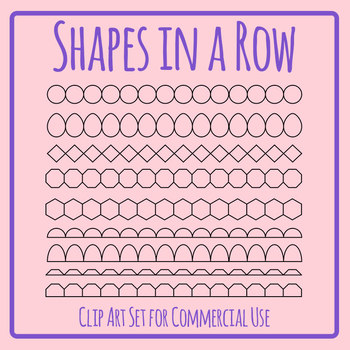 Lines of Blank Shapes in a Row Clip Art Set for Commercial Use