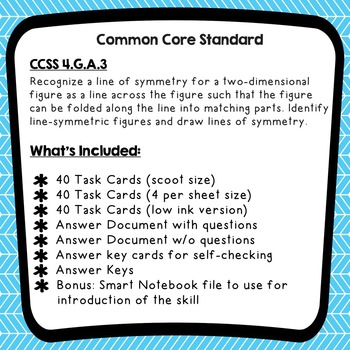 Lines of Symmetry Task Cards (QR Code Version) w/ Smart Notebook File 4.G.A.3