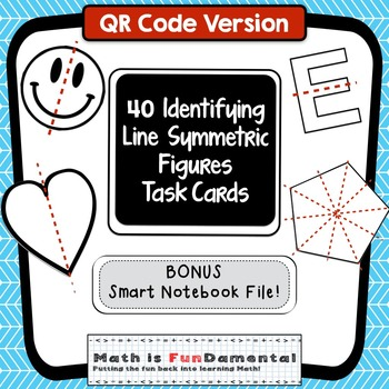 Lines of Symmetry Task Cards (QR Code Version) w/ Smart No