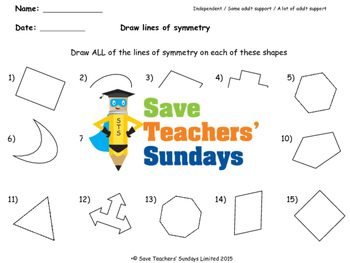 Lines of Symmetry (in shapes) Worksheets (2 levels of difficulty)