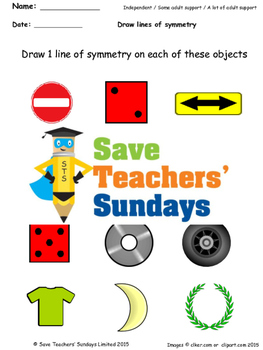 Lines of Symmetry Worksheets  (3 levels of difficulty)