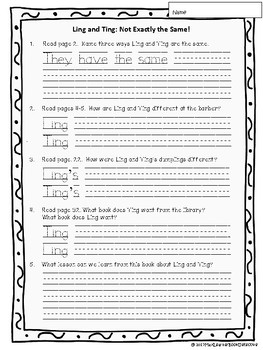 Ling & Ting: Not Exactly the Same! Text-Dependent Questions and More!