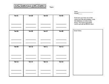 Lingo Bingo Game for Tems and Vocabulary