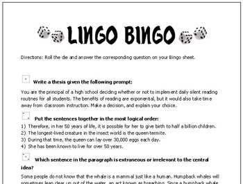 Lingo Bingo Writing Review **BUNDLE!**
