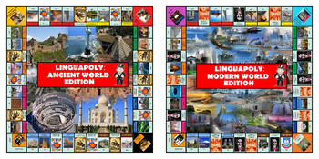 Monopoly Board Game (Ancient World/Modern World Edition) + Question Cards