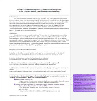 Linguistic Identity: An Exploration (Unit Curriculum)