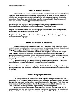 Linguistics for Young People (L-SINC Curriculum) Chapter 1- TEACHER'S GUIDE