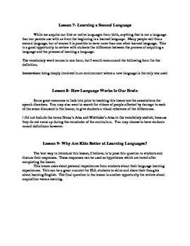Linguistics for Young People (L-SINC Curriculum) Chapter 2- TEACHER'S GUIDE