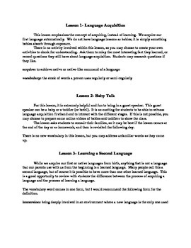 Linguistics for Young People (L-SINC Curriculum) Chapter 3- TEACHER'S GUIDE
