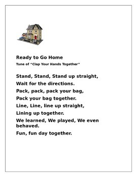 Lining Up Poem, Come to Group Song, Ready to Go Home Song Number 2