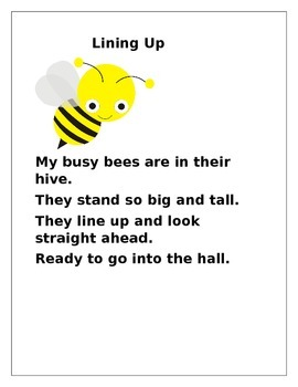 Lining Up Poem, Come to Group Song, Ready to Go Home Song