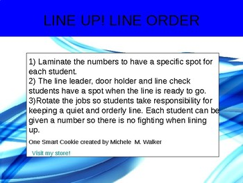 Lining up poster and number line