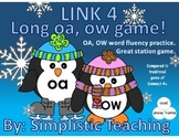 Link 4 Literacy Center Game for Long Vowel OA and OW Word Fluency Practice