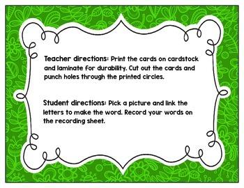 Link-a-Word Cards: CVC Short O Set