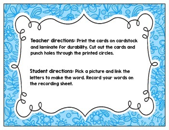 Link-a-Word Cards: CVC Short U Set