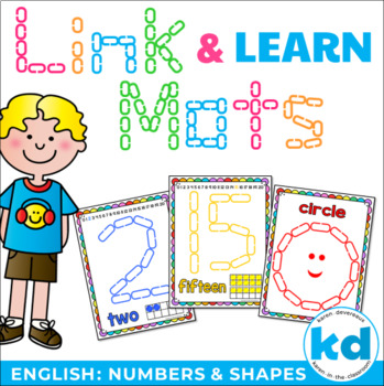 Number & Shape Mats for Links - ENGLISH (Playdough Alternative) Link & Learn
