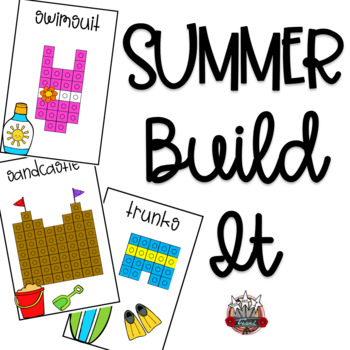 Linking Cube Pictures:  Summer Themed Build It Math Mats