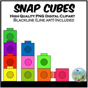 Flat Snap Cubes Clip Art for Teachers