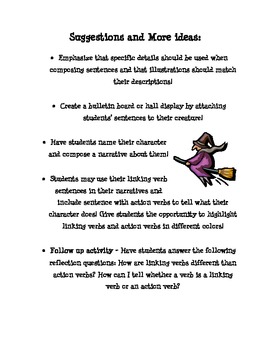 Linking Verb Monsters and Creepy Creatures!