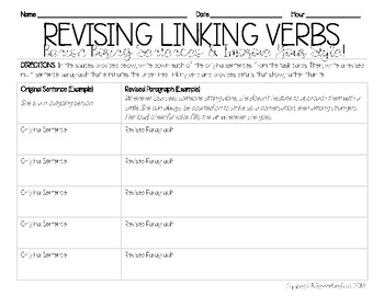 Linking Verb Revision Task Cards
