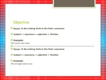 Linking Verb-was, were Review
