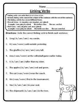 Linking Verbs Am Is Are Was Were Worksheets Linking Verbs Worksheets  Activities