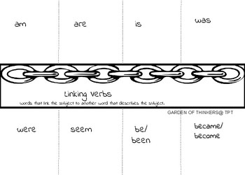 Linking Verbs Foldable